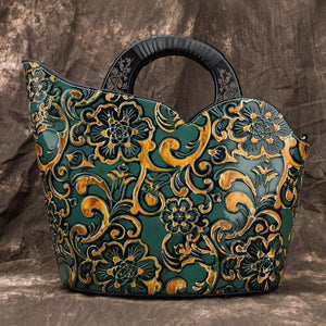 Oberlo Women - Bags - Leather-Crossbody-Shoulder-Hand Bag green Handmade Bohemian Shoulder Tote Leather Handbag