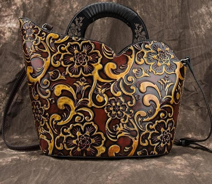 Handmade Bohemian Shoulder Tote Leather Handbag