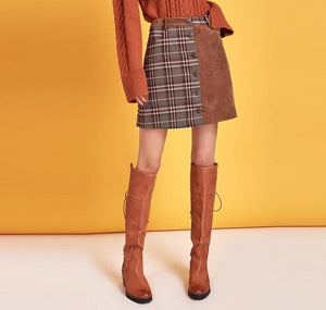 eprolo Clothing, Shoes & Accessories:Women:Women's Clothing:Pants:Women's Skirts Women Bohemian Plaid High Waist Skirt