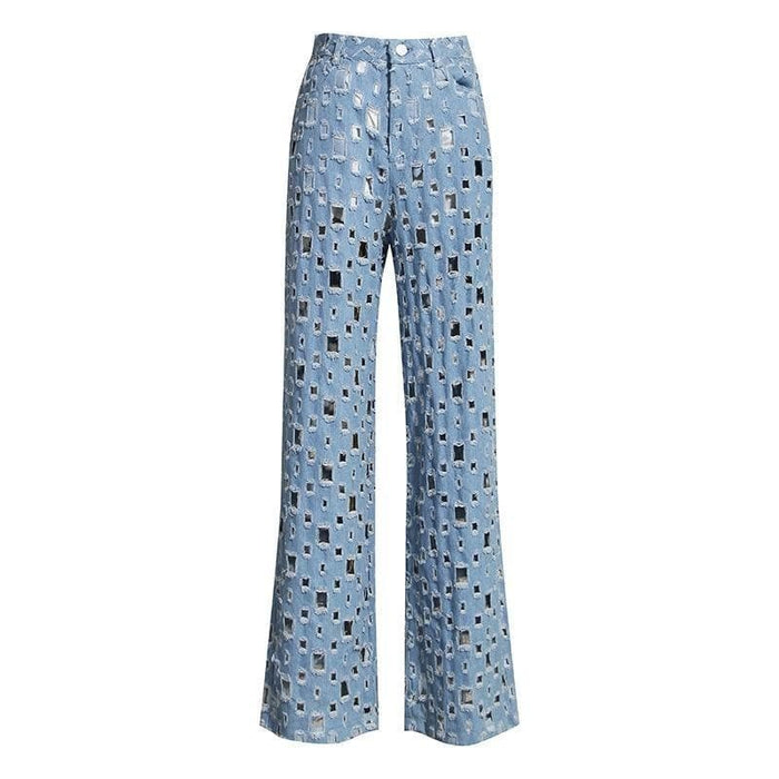 Wide Leg Patchwork Pattern Denim Jeans