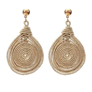 eprolo Women - Jewelry - Earrings Bohemian Alloy Spiral Dangle Drop Earrings