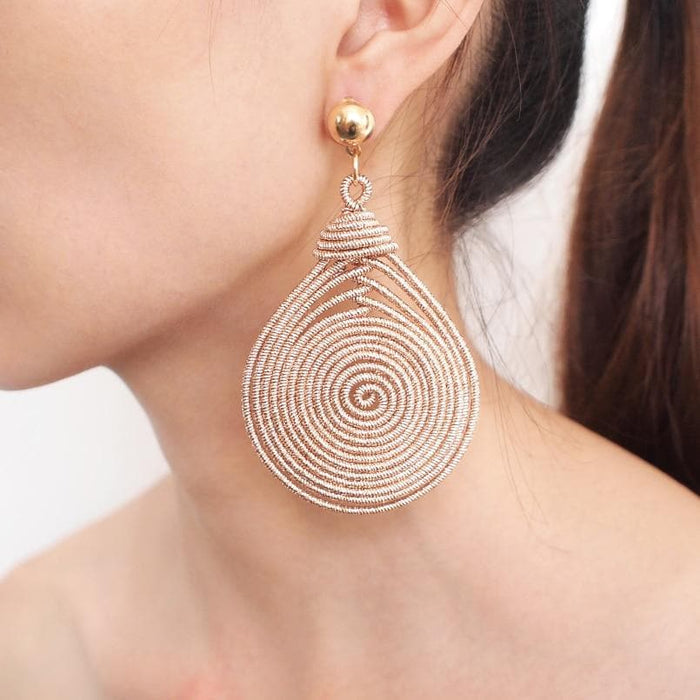 Bohemian Alloy Spiral Dangle Drop Earrings
