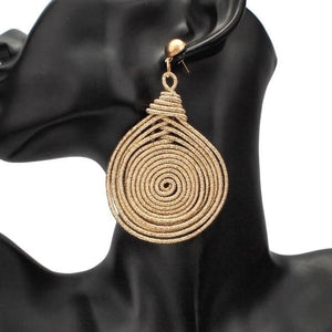 eprolo Women - Jewelry - Earrings Gold Earrings Bohemian Alloy Spiral Dangle Drop Earrings
