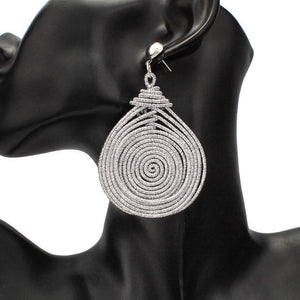 eprolo Women - Jewelry - Earrings Silver Earrings Bohemian Alloy Spiral Dangle Drop Earrings