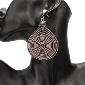 eprolo Women - Jewelry - Earrings Gun black Earrings Bohemian Alloy Spiral Dangle Drop Earrings