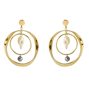 eprolo Women - Jewelry - Earrings Double Circle Pearls Dangle Earrings
