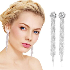 Long Crystal Tassel Dangle Earrings - Sensationally Fabulous