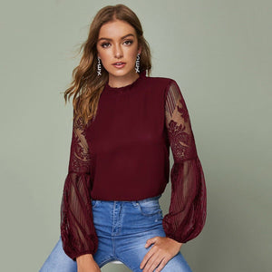 Angela Women's Clothing XS / Burgundy Frilled Neck Sheer Lace Sleeve Top
