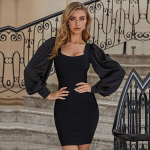 Black Puff Long Sleeve Bodycon Mini Club Dress - Sensationally Fabulous