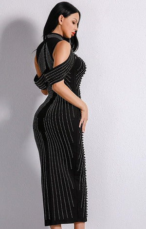 Evelyn Belluci Women's Fashion - Weddings & Events - Evening Dresses Off Shoulder Beaded Bodycon Dress
