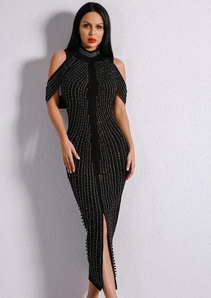 Evelyn Belluci Women's Fashion - Weddings & Events - Evening Dresses XS Off Shoulder Beaded Bodycon Dress