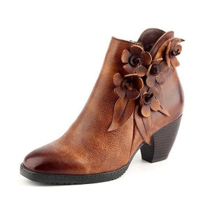 Oberlo Women's Fashion - Women's Shoes - Women's Boots Brown / 36 Leather Round Toe Handmade Ankle Boots