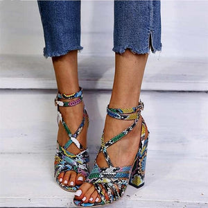 Oberlo Women's Fashion - Women's Shoes - Women's Sandals Colourful Snakeskin Square Heel Gladiator Sandals