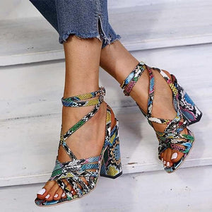 Snake Print Square Heel Gladiator Sandals - Sensationally Fabulous