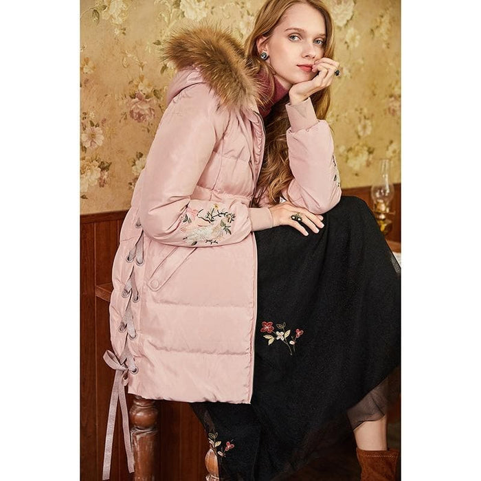 Embroidered Fur Hooded Jacket
