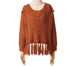 eprolo Clothing, Shoes & Accessories:Women:Women's Clothing:Tops Brown / S Knitted Pullover Tassel Sweater