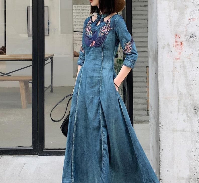 Boho Fashion Embroidered Denim Maxi Dress
