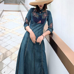 Next Chain Women's-Summer Dress-Casual-Beach Wear Boho Fashion Embroidered Denim Maxi Dress