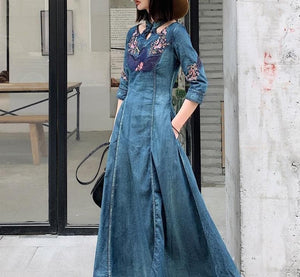 Next Chain Women's-Summer Dress-Casual-Beach Wear Blue / XXL Boho Fashion Embroidered Denim Maxi Dress