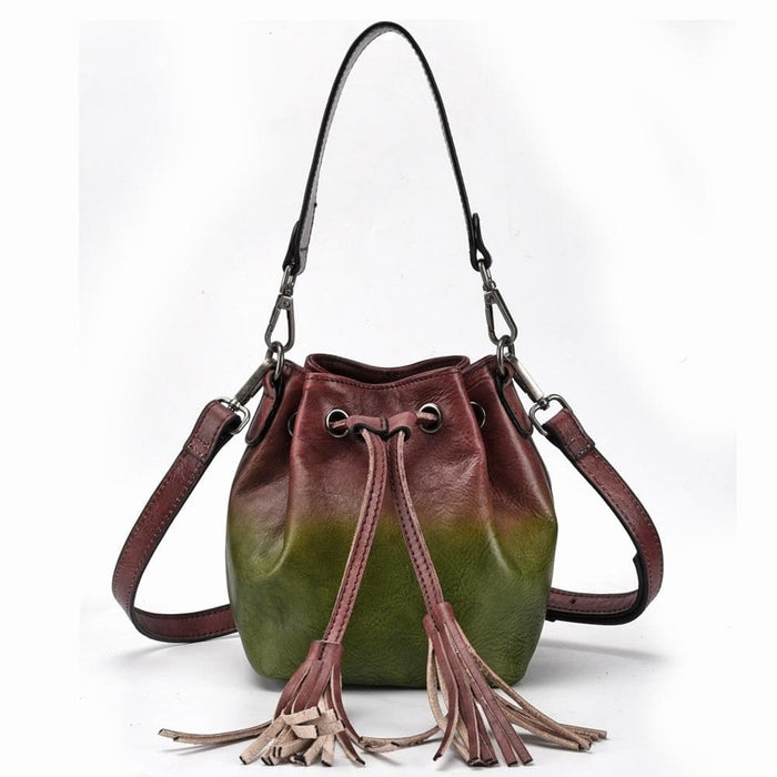 Two Color Leather Bucket Shoulder Handbag