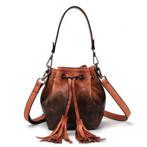 Sensationally Fabulous Women - Bags - Leather-Crossbody-Shoulder-Hand Bag Orange Two Color Leather Bucket Shoulder Handbag