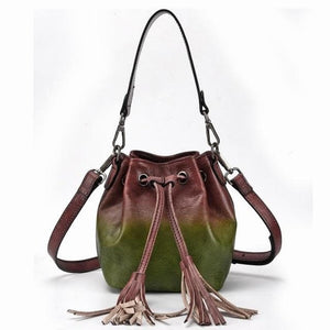 Sensationally Fabulous Women - Bags - Leather-Crossbody-Shoulder-Hand Bag green Two Color Leather Bucket Shoulder Handbag