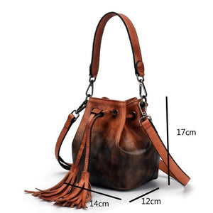 Sensationally Fabulous Women - Bags - Leather-Crossbody-Shoulder-Hand Bag Two Color Leather Bucket Shoulder Handbag