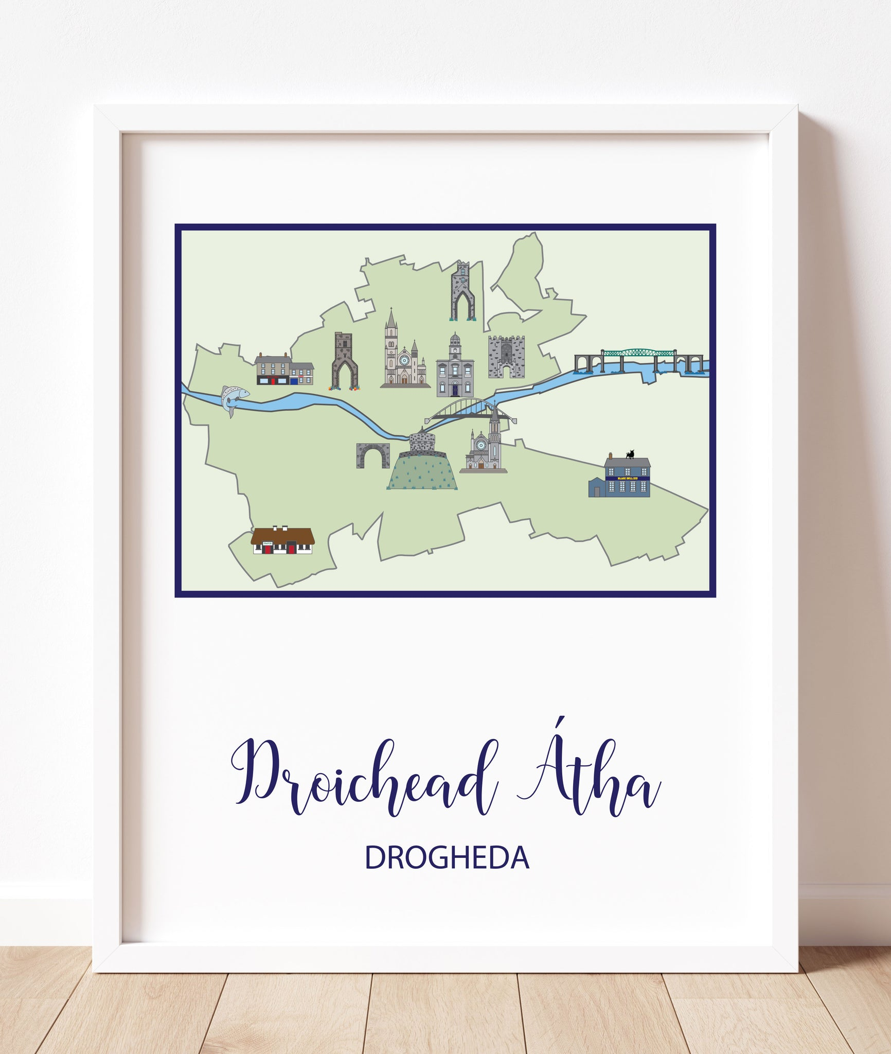 Map Of Drogheda (Portrait) | Prints of Ireland
