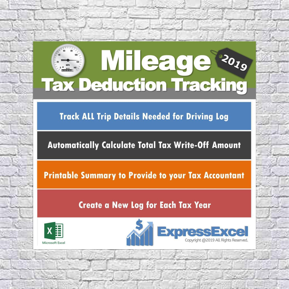 mileage tax deduction tracking log 2019