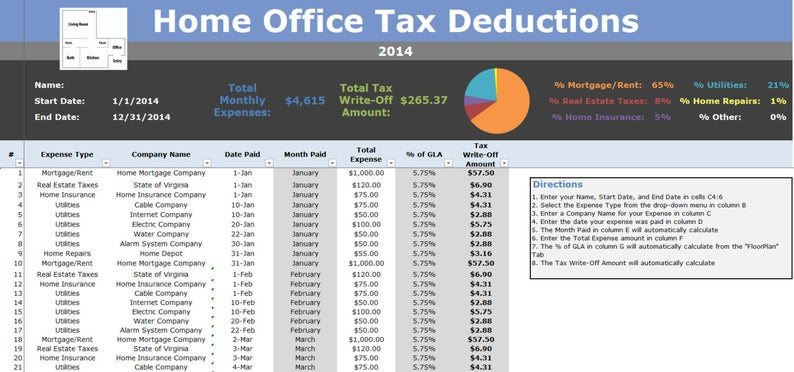 Home Office Tax Deductions Calculator 2020 Microsoft