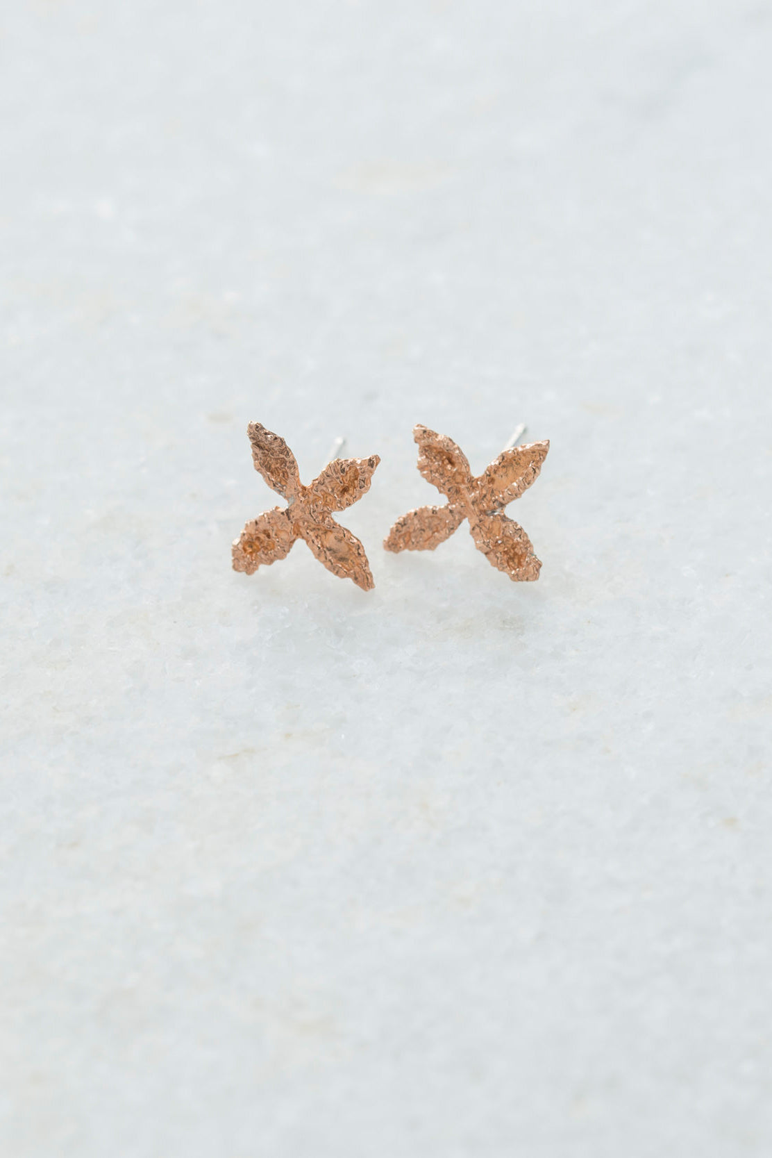 14K Rose Gold Small X Stud