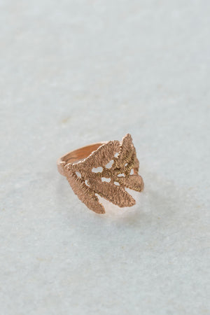 14K Rose Gold Leaf Wrap Ring