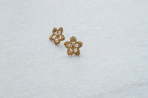 Bronze Netted Flower Stud