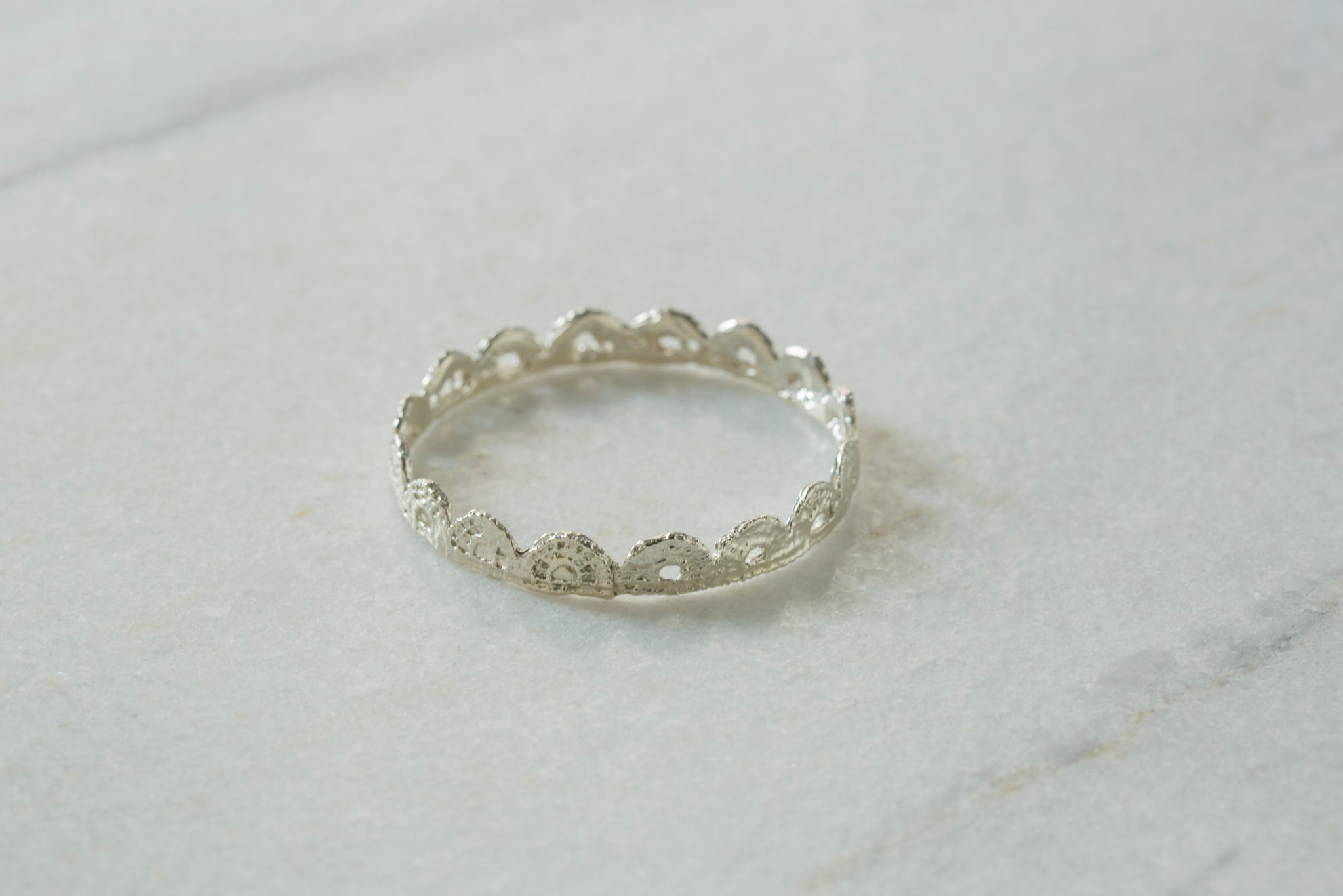 Silver Scalloped Bangle