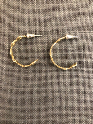 14k Yellow Gold Eyelet Hoops