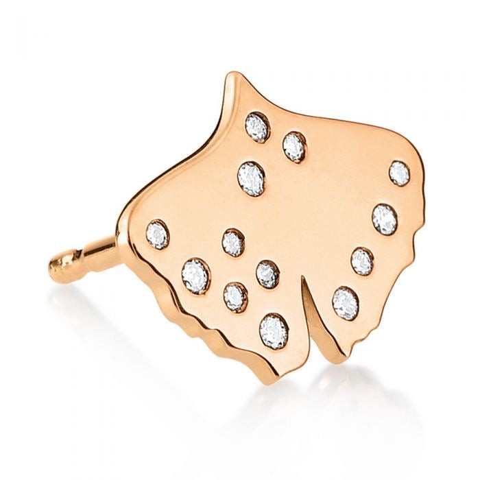 Diamond Gingko Studs