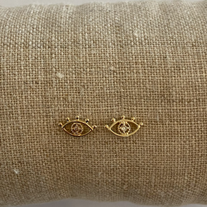 14K Yellow Gold + Diamond Eye Studs