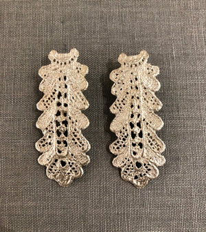 Silver Long Lace Earrings