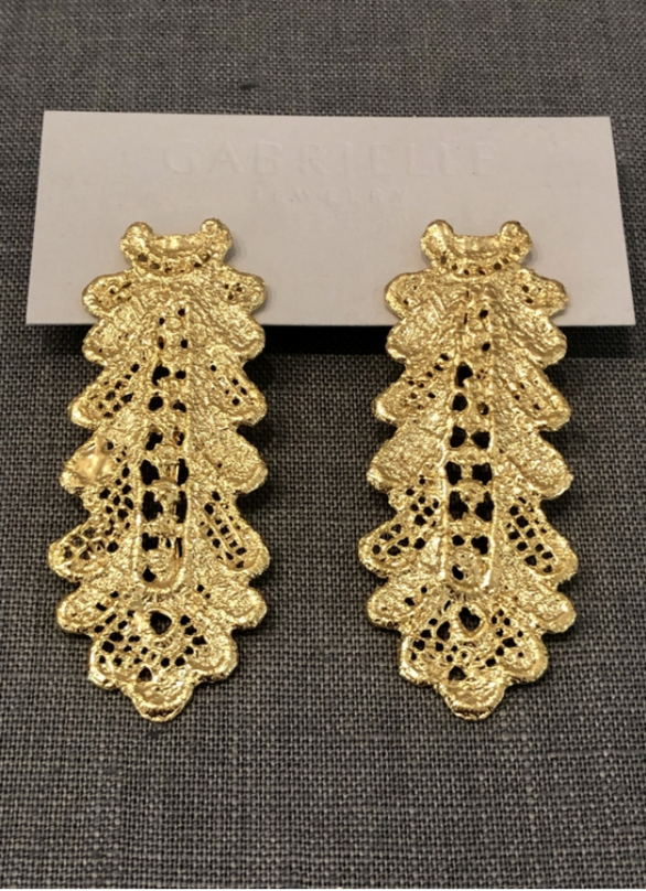 Gold Plate Long Lace Earring