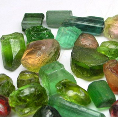raw green and rainbow tourmaline uses