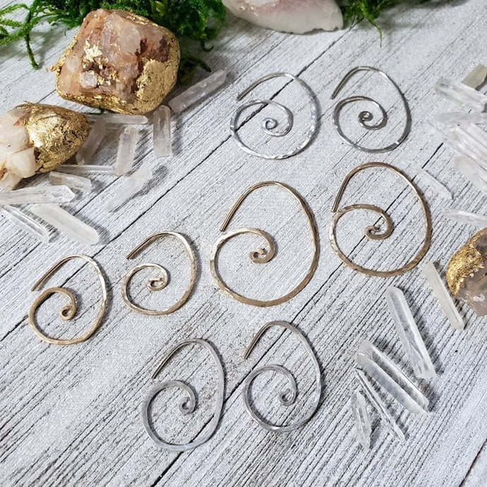 Hammered Sacred Spiral Hoops - Small - Shop Dreamers of Dreams