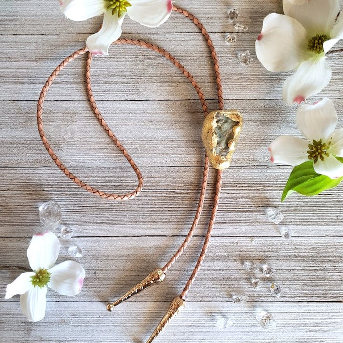 Sage Druzy Bolo Tie on Blush Leather