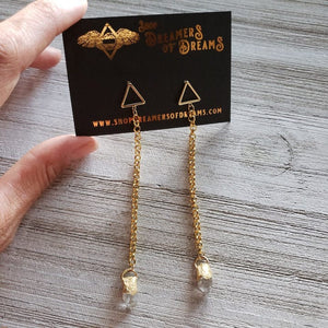 Herkimer Diamond Chain Earrings - Shop Dreamers of Dreams