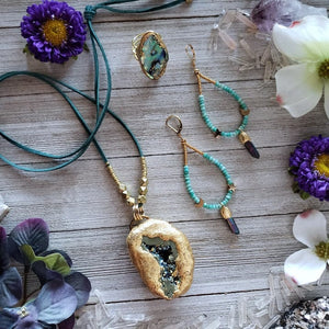 Aura Quartz Druzy Geode Necklace - Shop Dreamers of Dreams