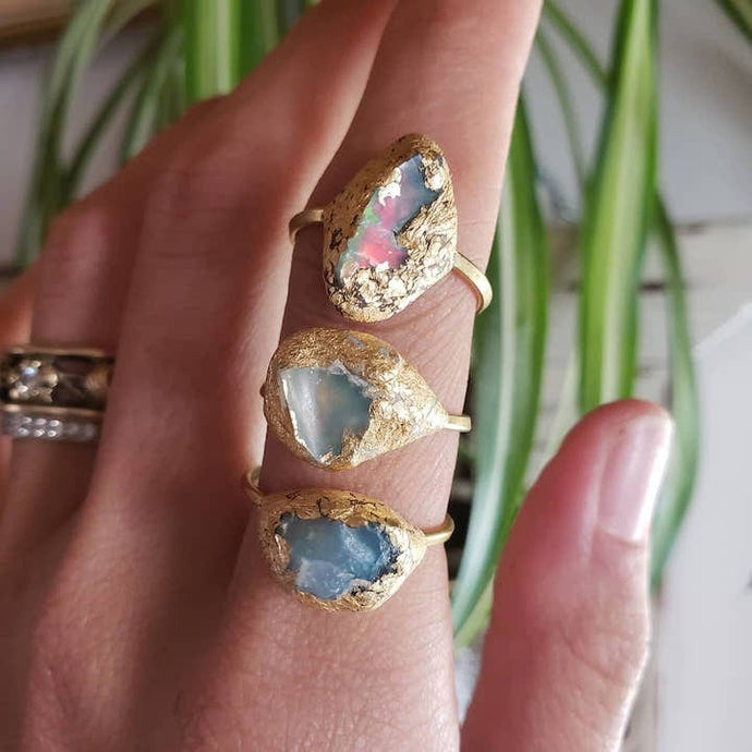 Raw Opal Stone Ring - Shop Dreamers of Dreams