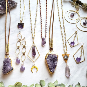 Amethyst and Moonstone Goddess Necklace - Shop Dreamers of Dreams