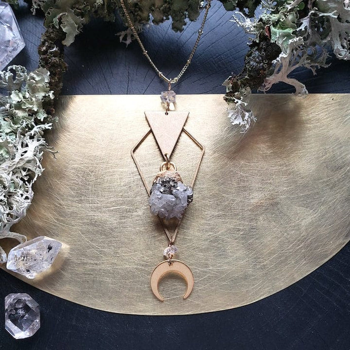 Quartz and Pyrite Prosperity Necklace - Shop Dreamers of Dreams