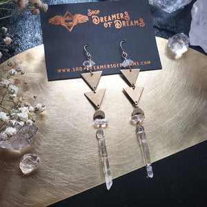 Herkimer and Quartz Drop Earrings - Shop Dreamers of Dreams