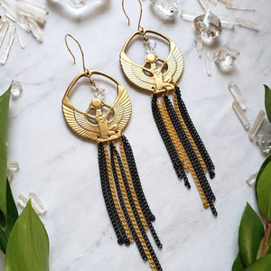 Brass Isis and Herkimer Chain Earrings - Shop Dreamers of Dreams