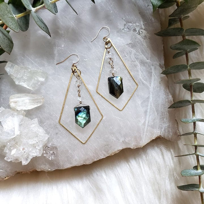 Labradorite and Herkimer Earrings - Shop Dreamers of Dreams